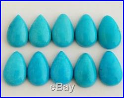 10 Pear Shaped 100% Natural Sleeping Beauty Turquoise Cabochons 12x8mm