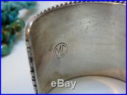 105gm ZUNI Signed SLEEPING BEAUTY TURQUOISE Coral STERLING CornRow CUFF snd