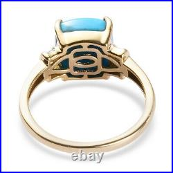 10K Yellow Gold Sleeping Beauty Turquoise Diamond Ring Size 7 Ct 1.9 H Color I3