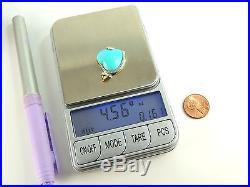 10K Yellow Gold Solid Pendant Diamonds Sleeping Beauty Fine Turquoise Heart OOEP