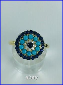10KT Sleeping Beauty Turquoise, Sapphire & White Topaz Ring Size 7 $649 Retail
