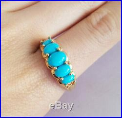 10k Yellow Gold Ring Sleeping Beauty Persian Turquoise Graduated Size 10.5