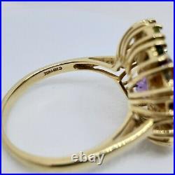 10k Yellow Gold Sleeping Beauty Turquoise Cabochon Halo Amethyst & Quartz Ring