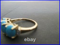 10k yellow gold 3 stone Sleeping Beauty Turquoise RING