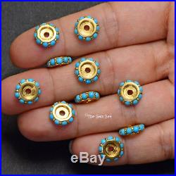 10mm 18k Solid Yellow Gold Sleeping Beauty Turquoise Eternity Spacer Bead (1)