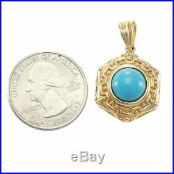 10mm Sleeping Beauty Turquoise 14k Yellow Gold Necklace Pendant Womens Estate