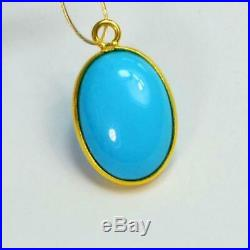 11mmx18mm 18k Solid Gold Sleeping Beauty Turquoise Oval Bezel Pendant Charm