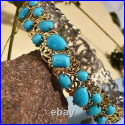 12.75 ct Sleeping Beauty Turquoise Bangle in Platinum and Gold Plated Bangle