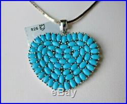 13.69Ct Sleeping Beauty Turquoise 925 Sterling Silver Pendant, Heart, Certificat