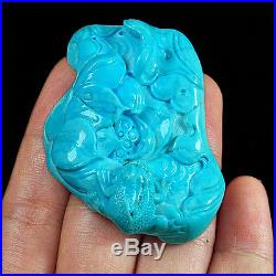 139.3CT 100% Natural Sleeping Beauty Turquoise Carving Lotus And Frog CST9
