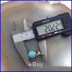 14.5 carats Natural Sleeping Beauty Turquoise Pendant 14K Gold diamond Necklace
