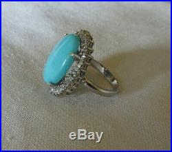 14 K Ring with Big Sleeping Beauty Turquoise, Halo of Baguette & Round Diamonds