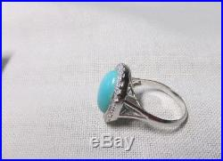 14 K White Gold Ring with Big Sleeping Beauty Turquoise Aid Halo of Diamonds