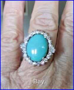 14 K White Gold Ring with Sleeping Beauty Turquoise and Halo of Diamonds