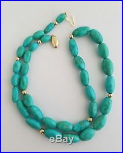 14K Gold Beads and Clasp Natural Sleeping Beauty Turquoise Necklace