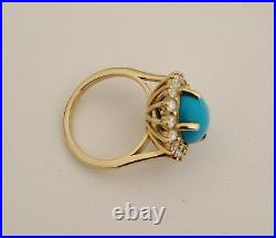 14K Gold & Daimond Natural Sleeping Beauty Turquoise Ring