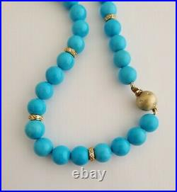 14K Gold & Diamond Natural Sleeping Beauty Turquoise Round Beads Necklace