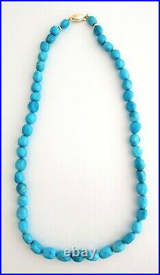 14K Gold Natural Sleeping Beauty Turquoise Beads Necklace