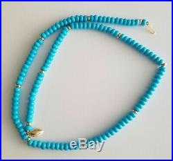 14K Gold Natural Sleeping Beauty Turquoise Rondelle Beads Necklace
