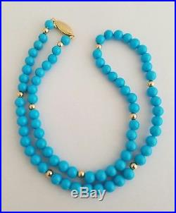 14K Gold Natural Sleeping Beauty Turquoise Round Beads Necklace