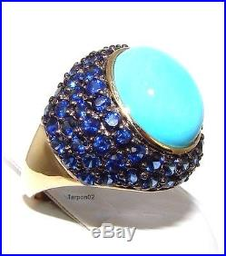 14K Gold Sleeping Beauty Turquoise+Blue Sapphire Domed 3.60ct. Ring 6 New