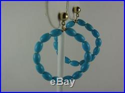 14K Gold Sleeping Beauty Turquoise Hoop Stud Earrings 1-3/8 diameter