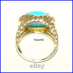 14K Gold Sleeping Beauty Turquoise Rope Design Ring 5.5 NEW