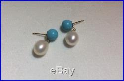 14K Sleeping Beauty Turquoise, Pearl Dangle/Drop Earrings Solid Gold