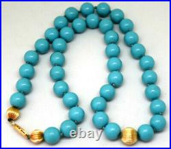 14K Solid Yellow Gold and Natural Nishapur Sleeping Beauty Turquoise Necklace