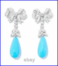 14K White Gold Over 6Ct Diamond Bow with Sleeping Beauty Turquoise Drop Earrings
