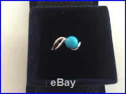 14K White Gold Ring Natural Sleeping Beauty Turquoise Cabochon