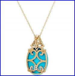 14k Yellow Gold Sleeping Beauty Turquoise & Diamond Enhancer 18 Necklace Qvc