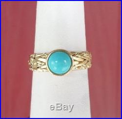 14k Yellow Gold Sleeping Beauty Turquoise Woven Wheat Design Ring Size 8