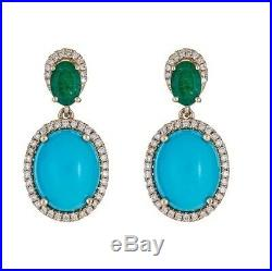 14K Yellow Gold Emerald Sleeping Beauty Turquoise & Diamond Earrings 925 silver