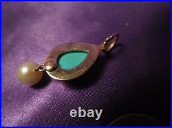 14K Yellow Gold Sleeping Beauty Teardrop Turquoise and Pearl Pendant