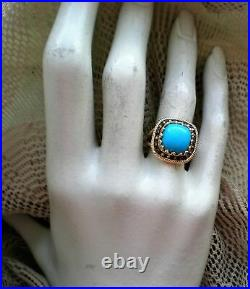 14K Yellow Gold Sleeping Beauty Turquoise Champagne Diamond Cluster Halo Ring