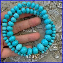 14K Yellow Gold Sleeping Beauty Turquoise Rondelle Bead 19 Necklace