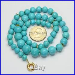 14K Yellow Gold Sleeping Beauty Turquoise Round Sphere Bead 19.8 Necklace