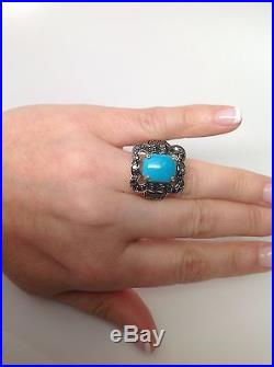 14K Yellow Gold Sleeping Beauty Turquoise and Black Diamond Ring Size 10