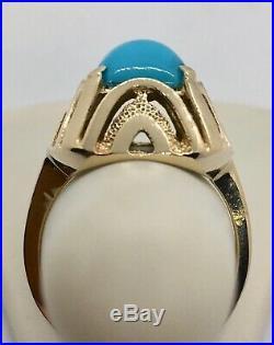 14KYG Genuine Sleeping Beauty Turquoise Ring Sz 6.5 in Retro Raised Setting 5.4g