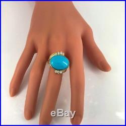 14ct Sleeping Beauty Turquoise Diamonds 18K Yellow Gold Ring, Mid-Century