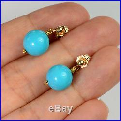 14k/18K Solid Yellow Gold Sleeping Beauty Turquoise Earrings