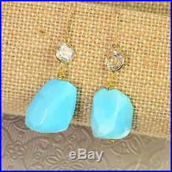 14k/18K Solid Yellow Gold Sleeping Beauty Turquoise Earrings with white topaz
