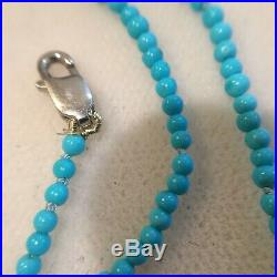 14k AA+ Grade Natural Sleeping Beauty Turquoise Necklace 2.0mm
