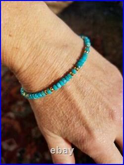 14k Gold 4mm SLEEPING BEAUTY TURQUOISE Genuine blue Natural Bracelet All SIZES