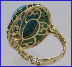 14k Gold Michael Valitutti Gems En Vogue Sleeping Beauty Turquoise Emerald Ring