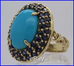 14k Gold Michael Valitutti Gems En Vogue Sleeping Beauty Turquoise Sapphire Ring