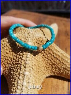 14k Gold Sleeping Beauty Turquoise Diamond Pavé Ball Bead Bracelet Sydney Evan