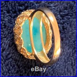 14k Gold, Sleeping Beauty Turquoise & Diamond Ring Size 7