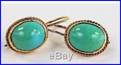 14k Gold Sleeping Beauty Turquoise Drop Earrings